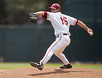 STANFORD, CA - May 22, 2011: Jordan Pries of Stanford baseball pitches during Stanford's game against Arizona at Sunken Diamond. Stanford won 2-1.