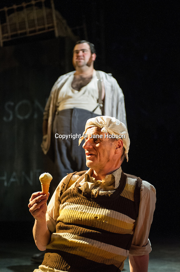London, UK. 19.03.2013. STEPTOE AND SON, adapted and directed by Emma Rice, opens at the Lyric Hamersmith. Picture shows: Dean Nolan (Harold Steptoe) and Mike Shepherd (Albert Steptoe). Photo credit: Jane Hobson.