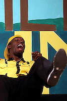 26.07.2012 London, England. The Jamaican athlete Usain Bolt during a news conference on the eve of the opening of the Olympics. Sprinter Usain Bolt, will be the flag bearer of Jamaica in the opening ceremony of the Olympic Games in London, on Friday.