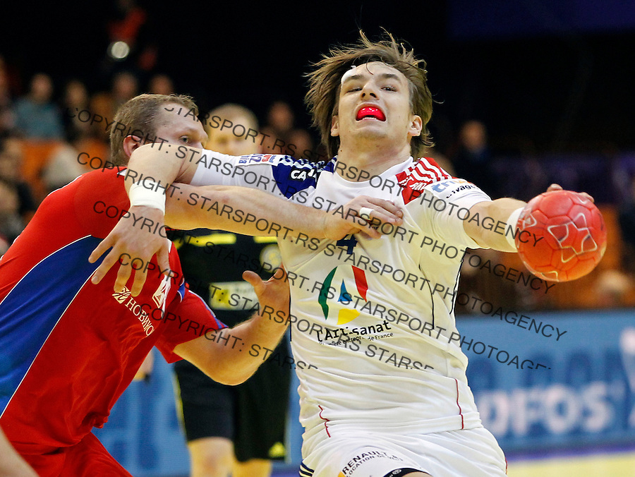 Barachet Xavier of France during EHF EURO 2012 handball championship game between Russia and France in Novi Sad, Serbia, Wednesday, January 18, 2011.  (photo: Pedja Milosavljevic / thepedja@gmail.com / +381641260959)