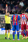 Referee Jesus Gil Manzano shows Luis Suarez of FC Barcelona a red card during their Copa del Rey 2016-17 Semi-final match between FC Barcelona and Atletico de Madrid at the Camp Nou on 07 February 2017 in Barcelona, Spain. Photo by Diego Gonzalez Souto / Power Sport Images