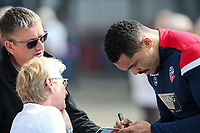 Bolton Wanderers' Josh Magennis signs autographs for supporters <br /> <br /> Photographer Andrew Kearns/CameraSport<br /> <br /> The EFL Sky Bet Championship - Blackburn Rovers v Bolton Wanderers - Monday 22nd April 2019 - Ewood Park - Blackburn<br /> <br /> World Copyright © 2019 CameraSport. All rights reserved. 43 Linden Ave. Countesthorpe. Leicester. England. LE8 5PG - Tel: +44 (0) 116 277 4147 - admin@camerasport.com - www.camerasport.com
