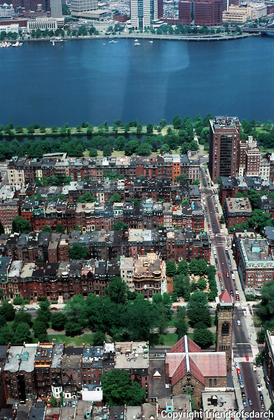 Boston:  Views from the Hancock--looking north toward Charles River. Commonwealth Avenue in the center.  Photo '88.