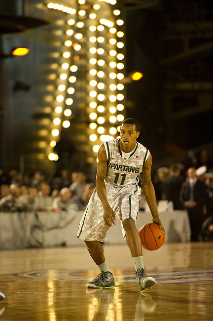 SAN DIEGO, CA - NOVEMBER 11, 2011: Keith Appling (11) of the Michigan State Spartans in action during the 2011 Quicken Loans Carrier Classic versus the North Carolina Tar Heels on the USS Carl Vinson..(Photo by Robert Beck / ESPN)..- RAW FILE AVAILABLE -.- CMI000165186.jpg -