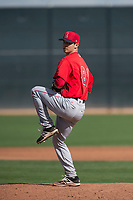Los Angeles Angels relief pitcher Jackson Zarubin (81) during a Minor League Spring Training game against the Cincinnati Reds at the Cincinnati Reds Training Complex on March 15, 2018 in Goodyear, Arizona. (Zachary Lucy/Four Seam Images)