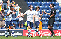 Preston North End's Alan Browne appeals to referee Andrew Madley after Burton Albion's Hope Akpan equalised<br /> <br /> Photographer Alex Dodd/CameraSport<br /> <br /> The EFL Sky Bet Championship - Preston North End v Burton Albion - Sunday 6th May 2018 - Deepdale Stadium - Preston<br /> <br /> World Copyright &copy; 2018 CameraSport. All rights reserved. 43 Linden Ave. Countesthorpe. Leicester. England. LE8 5PG - Tel: +44 (0) 116 277 4147 - admin@camerasport.com - www.camerasport.com