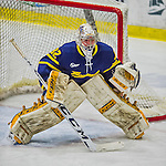 21 February 2015:  Merrimack College Warrior Goaltender Rasmus Tirronen, a Senior from Espoo, Finland, in first period action against the University of Vermont Catamounts at Gutterson Fieldhouse in Burlington, Vermont. The teams played to a scoreless tie to wrap up the regular home season for the Cats. Mandatory Credit: Ed Wolfstein Photo *** RAW (NEF) Image File Available ***