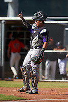 Colorado Rockies Wilkyns Jimenez (60) during an instructional league game against the San Francisco Giants on October 7, 2015 at the Giants Baseball Complex in Scottsdale, Arizona.  (Mike Janes/Four Seam Images)