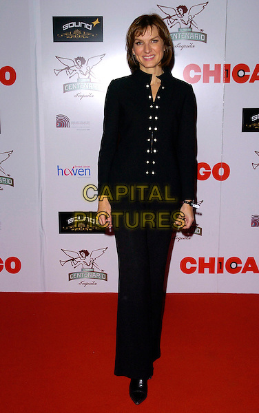 "FIONA BRUCE.The ""Chicago"" 10th anniversary afterparty, Sound bar & nightclub, London, England..December 5th, 2007.full length black trousers jacket suit buttons .CAP/CAN.©Can Nguyen/Capital Pictures"