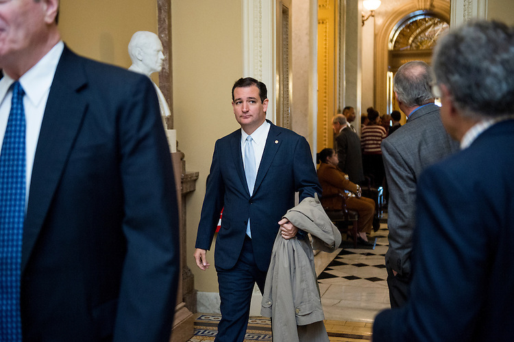 UNITED STATES - OCTOBER 11: Sen. Ted Cruz, R-Texas, walks to a meeting with the Senate Republicans as they return from their meeting with President Obama at the White House about the government shutdown and the debt ceiling on Friday, Oct. 11, 2013. (Photo By Bill Clark/CQ Roll Call)