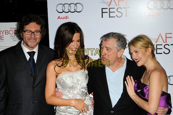 "KIRK JONES, KATE BECKINSALE, ROBERT DE NIRO & DREW BARRYMORE .AFI Fest's world premiere of ""Everybody's Fine"" at Grauman's Chinese Theatre in Hollywood, California, USA..November 3rd, 2009.half length grey gray strapless white sheer dress purple silk satin back blue shirt black suit jacket ring mouth open funny face glasses deniro hand stubble facial hair.CAP/ROT.©Lee Roth/Capital Pictures"