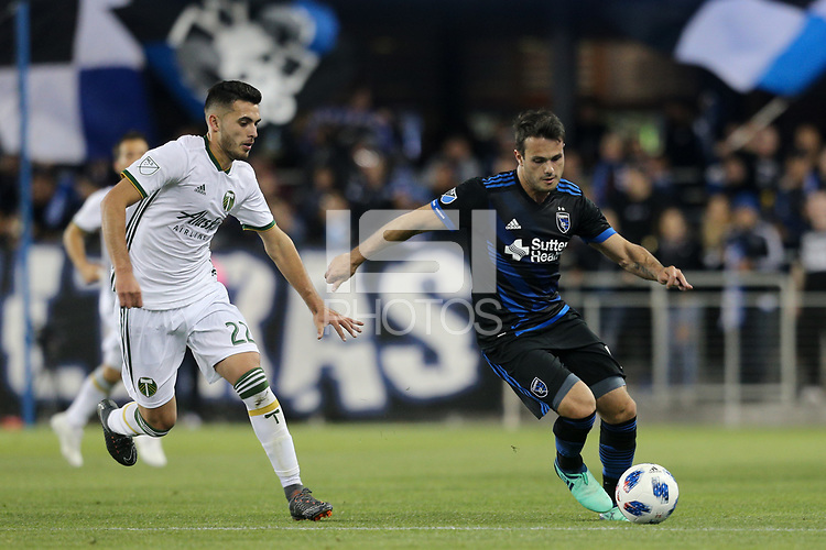 San Jose, CA - Saturday May 05, 2018: Cristhian Paredes, Vako during a Major League Soccer (MLS) match between the San Jose Earthquakes and the Portland Timbers at Avaya Stadium.