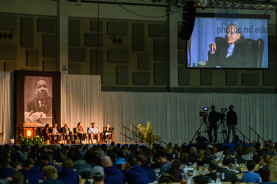 January 20, 2020; Keynote speaker Diane Nash, a leader in the 1960s civil rights movement, speaks at the 2020 Martin Luther King Jr. Celebration Luncheon. (Photo by Matt Cashore/University of Notre Dame)