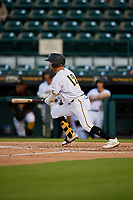 Bradenton Marauders Travis Swaggerty (12) bats during a Florida State League game against the Jupiter Hammerheads on April 19, 2019 at LECOM Park in Bradenton, Florida.  Bradenton defeated Jupiter 7-1.  (Mike Janes/Four Seam Images)