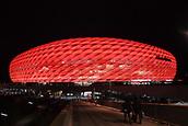 December 5th 2017, Allianze Arena, Munich, Germany. UEFA Champions league football, Bayern Munich versus Paris St Germain;  The Alliamze Arean lit for tonights game