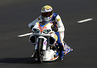Jul. 20, 2013; Morrison, CO, USA: NHRA pro stock motorcycle rider Adam Arana during qualifying for the Mile High Nationals at Bandimere Speedway. Mandatory Credit: Mark J. Rebilas-