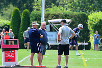 June 13, 2017: New England Patriots head coach Bill Belichick (left) and former NFL coach Chip Kelly (center0 stand on the practice field at the New England Patriots organized team activity held on the practice field at Gillette Stadium, in Foxborough, Massachusetts. Eric Canha/CSM