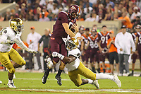 Blacksburg, VA - October 6, 2018: Virginia Tech Hokies quarterback Ryan Willis (5) gets tackled by a Notre Dame Fighting Irish defender during the game between Notre Dame and VA Tech at  Lane Stadium in Blacksburg, VA.   (Photo by Elliott Brown/Media Images International)