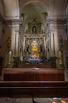 Main altar, Monastery of Bonany, Es Pla, Mallorca. Bonany was the site of the last sermon of Fr. Junipero Serra before leaving for the Mexico and California in 1735...Santuario de la Mare de Deú de Bonany was originally constructed in the XVII. century.