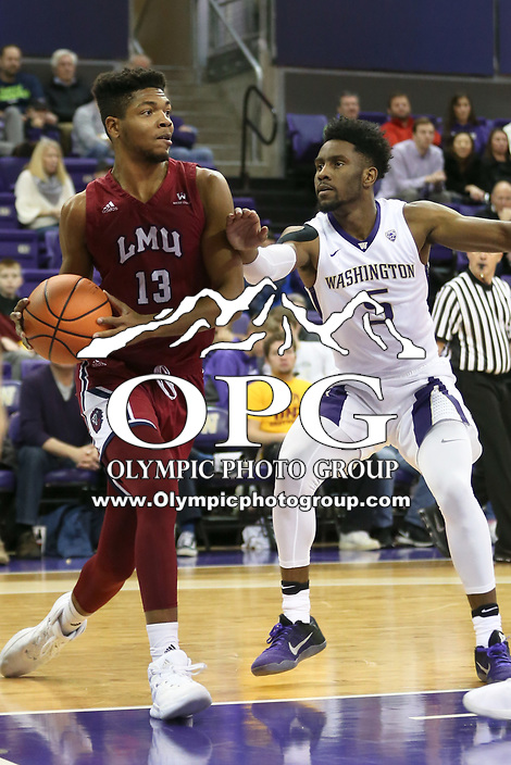SEATTLE, WA - DECEMBER 17: Loyola Marymount's Mikail Simmons against Washington.  Washington won 75-63 over Loyola Marymount at Alaska Airlines Arena in Seattle, WA.