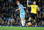 Kevin De Bruyne of Manchester City has a shot on goal during the English Premier League match at The Etihad Stadium, Manchester. Picture date: December 12th, 2016. Photo credit should read: Lynne Cameron/Sportimage