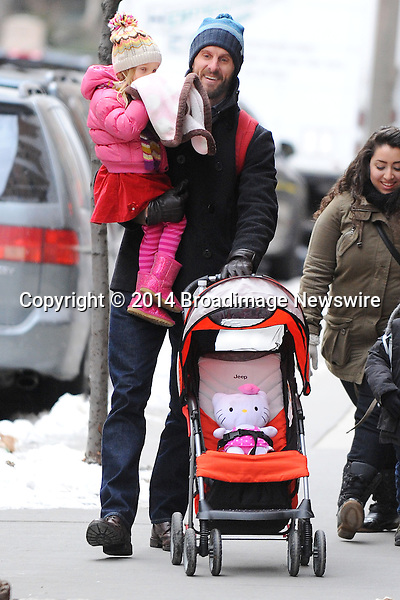 Pictured: Jason Hoppy, Bryn Hoppy<br /> Mandatory Credit &copy; Jayme Oak/Broadimage <br /> Jason Hoppy takes his daughter to school in downtow Manhattan<br /> <br /> 1/29/14, New York, New York, United States of America<br /> <br /> Broadimage Newswire<br /> Los Angeles 1+  (310) 301-1027<br /> New York      1+  (646) 827-9134<br /> sales@broadimage.com<br /> http://www.broadimage.com