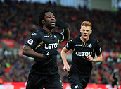 2nd December 2017, bet365 Stadium, Stoke-on-Trent, England; EPL Premier League football, Stoke City versus Swansea City;  Wilfried Bony of Swansea City celebrates scoring the opening goal of the game in the second minute