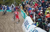 Superprestige Zonhoven 2013<br /> <br /> Julien Taramarcaz (CHE) forced to descend on foot after crashing coming into The Pit