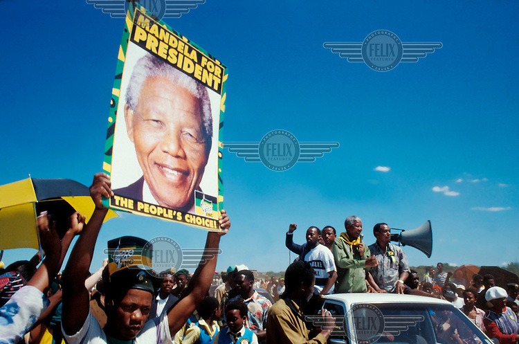 Nelson Mandela campaigning in Orange Farm in the build-up to the 1994 elections.