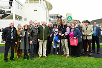 Connections of Moabit celebrate in the winners enclosure after winning The Byerley Stud 'Season Finale' Handicap during Bathwick Tyres Reduced Admission Race Day at Salisbury Racecourse on 9th October 2017