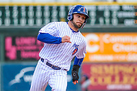 Iowa Cubs outfielder Johnny Field (1) rounds third base during a Pacific Coast League game against the San Antonio Missions on May 2, 2019 at Principal Park in Des Moines, Iowa. Iowa defeated San Antonio 8-6. (Brad Krause/Four Seam Images)
