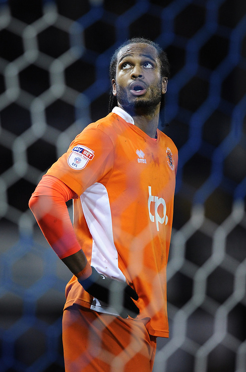 Blackpool's Nathan Delfouneso<br /> <br /> Photographer Ashley Western/CameraSport<br /> <br /> The EFL Sky Bet League Two - Portsmouth v Blackpool  - Tuesday 14th February 2017 - Fratton Park - Portsmouth<br /> <br /> World Copyright &copy; 2017 CameraSport. All rights reserved. 43 Linden Ave. Countesthorpe. Leicester. England. LE8 5PG - Tel: +44 (0) 116 277 4147 - admin@camerasport.com - www.camerasport.com