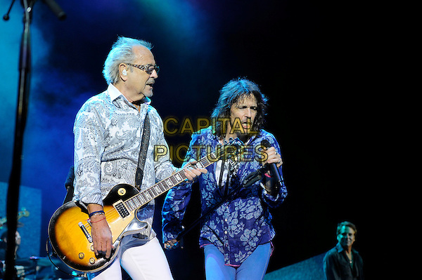 LONDON, ENGLAND - APRIL 13: Mick Jones and Kelly Hansen of Foreigner performing at the Eventim Apollo on April 13, 2014 in London, England.<br /> CAP/MAR<br /> &copy; Martin Harris/Capital Pictures