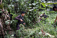 Thai army and police serach the bushes for militants after a car packed with school teachers, escorted by police is hit by a 20 kilogram I.E.D roadside bomb. Miraculously none of the teachers or police is killed. The explosion was heard all over the city of Pattani. Thailand is struggling to keep up appearances as the land of smiles has to face up to its troubled south. Since 2004 more than 3500 people have been killed and 4000 wounded in a war we never hear about. In the early hours of January 4th 2004 more than 50 armed men stormed a army weapons depot in Narathiwat taking assault rifles, machine guns, rocket launchers, pistols, rocket-propelled grenades and other ammunition. Arsonists simultaneously attacked 20 schools and three police posts elsewhere in Narathiwat. The raid marked the start of the deadliest period of armed conflict in the century-long insurgency. Despite some 30,000 Thai troops being deployed in the region, the shootings, grenade attacks and car bombings happen almost daily, with 90 per cent of those killed being civilians. 28.09.07. Photo: Christopher Olssøn.