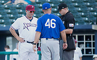 Tulsa Drillers vs NWA Naturals Vance Wilson manager of the Naturals during the pre game briefing against the Drillers, at Arvest Ballpark, Springdale, AR, Wednesday, July 12, 2017,  © 2017 David Beach
