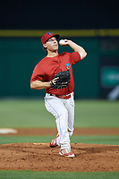 Clearwater Threshers relief pitcher Jeff Singer (24) delivers a pitch during a game against the Jupiter Hammerheads on April 9, 2018 at Spectrum Field in Clearwater, Florida.  Jupiter defeated Clearwater 9-4.  (Mike Janes/Four Seam Images)