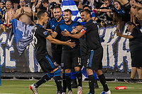 San Jose, CA - Tuesday June 11, 2019: Luis Felipe #96, Jimmy Ockford #15 and Chris Wondolowski #8 celebrate the goal of Vako Qazaishvili #11 during the US Open Cup match between the San Jose Earthquakes and Sacramento Republic FC at Avaya Stadium.