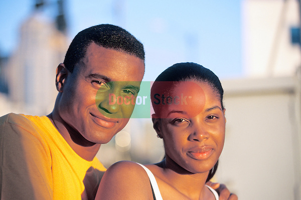 African American couple in sunset