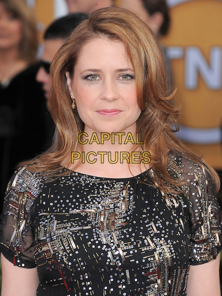 Jenna Fischer.Arrivals at the 19th Annual Screen Actors Guild Awards at the Shrine Auditorium in Los Angeles, California, USA..27th January 2013.SAG SAGs headshot portrait black gold silver sequins sequined .CAP/DVS.©DVS/Capital Pictures.