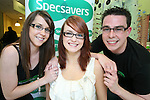 Emma Friel, Gemma Byrne and Aaron Reay promote the Spectacle Wearer of the Year 2010 Competition in Specsavers, Drogheda..Photo NEWSFILE/Jenny Matthews.(Photo credit should read Jenny Matthews/NEWSFILE)....This Picture has been sent you under the condtions enclosed by:.Newsfile Ltd..The Studio,.Millmount Abbey,.Drogheda,.Co Meath..Ireland..Tel: +353(0)41-9871240.Fax: +353(0)41-9871260.GSM: +353(0)86-2500958.email: pictures@newsfile.ie.www.newsfile.ie.FTP: 193.120.102.198.