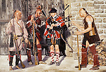 "A bagpiper of the British Army Black Watch Highlander Regiment making music surrounded by curious Woodland Indians at Fort Stanwix, New York. Oil on canvas, 20"" x 28""."