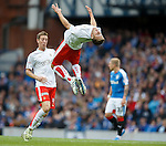 Will Vaulks celebrates his goal for Falikrk by doing a somersault in mid air