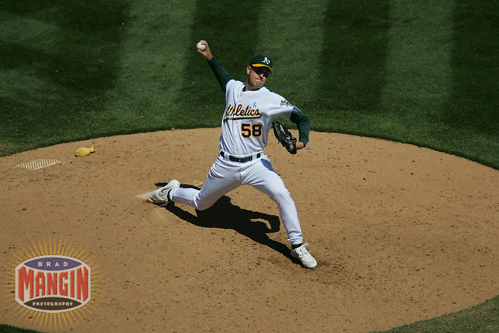 Justin Duchscherer. Baseball: Philadelphia Phillies vs Oakland Athletics in Oakland on June 19, 2005.
