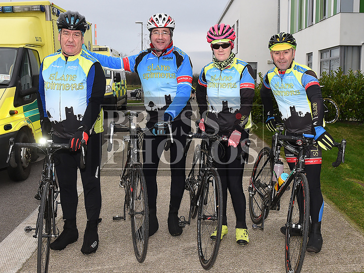 Barry Harding, Stevie Hand, Suzanne and Paul Duff from Slane Spinners Cycle Club who took part in the Duleek Parish annual spotive cycle inn aid of Duleek National School. Photo:Colin Bell/pressphotos.ie