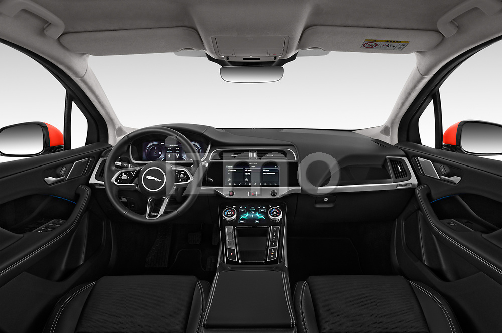 Stock photo of straight dashboard view of a 2019 Jaguar I Pace S 5 Door SUV