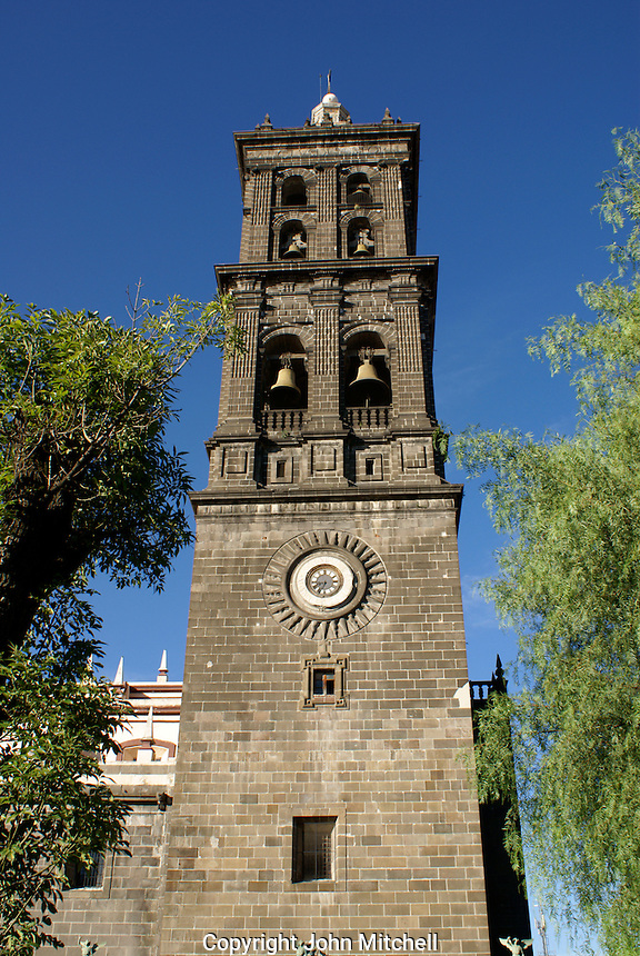 Bell tower of the cathedral in the city of Puebla, Mexico. The historical center of Puebla is a UNESCO World Heritage Site.