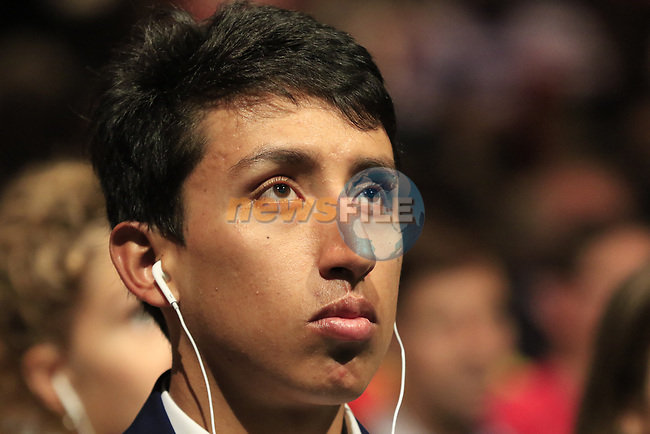 Egan Bernal (COL) at the Tour de France 2020 route presentation held in the Palais des Congrès de Paris (Porte Maillot), Paris, France. 15th October 2019.<br /> Picture: Eoin Clarke | Cyclefile<br /> <br /> All photos usage must carry mandatory copyright credit (© Cyclefile | Eoin Clarke)