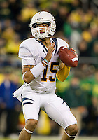 October 6th, 2011:  Zach Maynard of California gets ready to throw the ball down the field to his open receiver during a game against Oregon at Autzen Stadium in Eugene, Oregon - Oregon defeated Cal 43 - 15