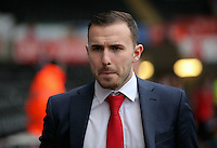 Jordon Mutch of Crystal Palace of Crystal Palace arrives before the Barclays Premier League match between Swansea City and Crystal Palace at the Liberty Stadium, Swansea on February 06 2016
