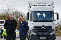 Pictured: (L-R) PC Martyn Young and PC Phil Dunning of the Commercial Vehicle Unit by the Mercedes Actross truck which will be used by South Wales Police to police roads. Monday 16 April 2018<br />